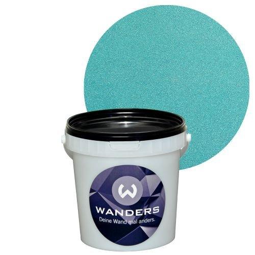 wanders glimmer optik t rkis wand farbe glitzer effekt wandfarbe glitter 1 liter. Black Bedroom Furniture Sets. Home Design Ideas