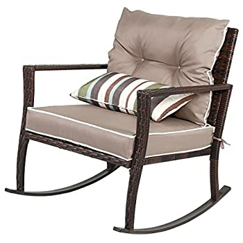 Tangkula 3 PCS Chat Set Patio Outdoor Rocking Chairs with Coffee Table Set (Coffee)