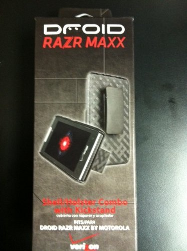 Verizon Shell Combo w/Holster & Kickstand for Droid Razr Maxx - Side