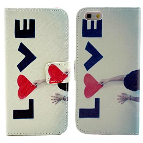 """Luv You Iphone 6 4.7"""" Case,Love And Hand Pattern Style Lv-Yo Design Style Beautiful High Quality Luxury Premium Pu Leather Feature Flip Magnet Wallet Stand Smart Case Cover Protective With Id Credit Card Holder Slots Cute Tpu Case Fit For Apple Iphone Ver front-490226"""