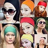 Mersuii Headbands, Women Lady Girls Colored Wide Yoga Headband Strech Hairband Elastic Hair Bands Turban (Black)