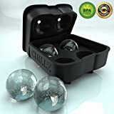 "CHILLZ Ice Ball Maker - Black Flexible Silicone Ice Mold Tray - BPA Free - Order Now - 100% Money Back Guarantee! - Ice Cube Tray Molds 4 x 2"" Spheres Like An Ice Press Machine - Easy To Remove Ice Balls - Round Ice Melts Slower - Perfect for Whiskey Glasses - Enjoyed By 1000s! - by The Classic Kitchen"