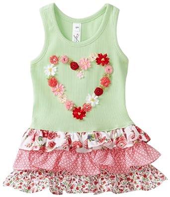 Love U Lots Baby-Girls Infant Flower Heart Meadow Rib Drop Waist Dress With Floral Tiers, Meadow, 12 Months