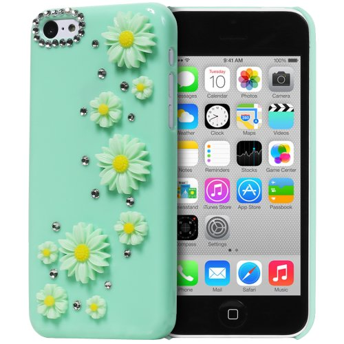 Fosmon Gem-Sun Daisy Flowers & Rhinestone 3D Design Bling Hard Case For The Apple Iphone 5C - Retail Packaging (Spring Green) front-445287