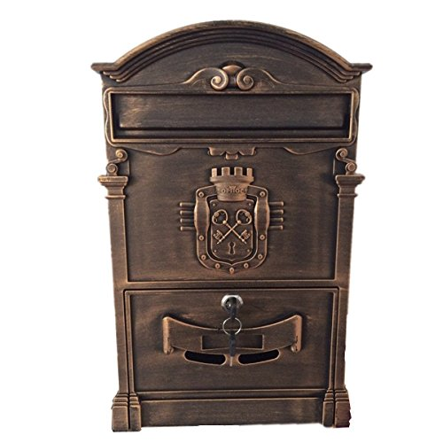 Doitb Mailbox European Style Outside Aluminum Wall Mount Post Box Secure Mailbox Letterbox Outdoor Retro Vintage Mailboxes (Bronze) (Vintage Mailbox Wall Mount compare prices)
