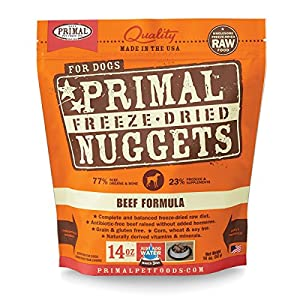 Primal Pet Foods Freeze-Dried Canine Beef Formula 14 oz, FREE Primal treat with purchase a $9.99 value!