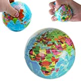 SODIAL(R) NEW WORLD MAP FOAM EARTH GLOBE STRESS RELIEF BOUNCY BALL ATLAS GEOGRAPHY TOY