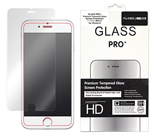 GLASS PRO+ Premium Tempered Glass Screen Protection バックボタン 機能付き for iPhone 6s iPhone 6 強化ガラス 液晶 保護 フィルム シート プロテクター ラウンドエッジ加工 …