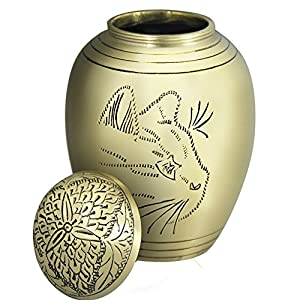 Meilinxu - Pet Funeral Urns for Dogs Ashes - Cremation Urns for Cats Ashes - Hand Made in Brass - Attractive Display Burial Urn - Pet Memorial Baby Urn - Cremated Remains (Cat Face Model, Large Urn)