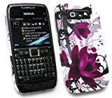 FLASH SUPERSTORE LCD SCREEN PROTECTOR AND PURPLE BLOOM CLIP ON PROTECTION CASE/COVER/SKIN FOR NOKIA E71