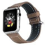 Oittm Apple Watch ベルト 交換バンド 38mm用 42mm用 アップルウォッチ用 工具不要 Apple watch本革ベルト レザー Apple Watch Sport ベルト 交換 バンド 連結器付き おしゃれ iWatch用 ビジネス風 時計バンド 腕時計ストラップ (カーキ38mm)