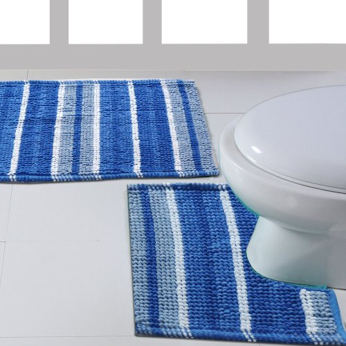Ritz Blue White Luxury 2 Piece Stripey Cotton Pedestal Bath Mats Bathroom Set