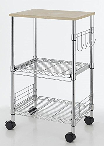 3-Tier Wire Rolling Kitchen Cart Utility Food Service Microwave Stand (Microwave 15 Inch compare prices)