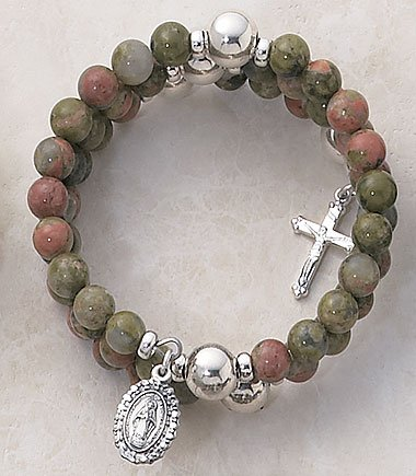Unikite Wrap Around Five Decade Catholic 6MM Rosary Bracelet Fine Religious Jewelry