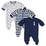 Gerber Baby Boys' 3 Pack Zip Front Sleep N' Play - Sports in Dark Blue