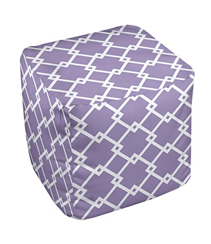 E by design FG-N10C-Heather_Purple-18 Geometric Pouf