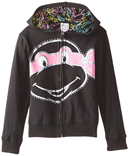 Nickelodeon Little Girls' Teenage Mutant Ninja Turtles Reversible Zip Up Hoodie, Black, 5/6 (Teenage Mutant Ninja Turtles Girls)