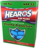 HEAROS Earplugs - Xtreme Ear Protection Series 100 Pair - #1 Recommended Ear Protection by Professionals &Physicians- Made in USA - Highest Rated NRR33