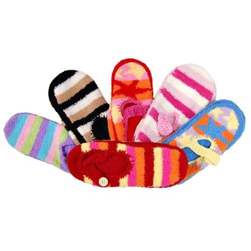 Cheap Assorted 6 Pack Mary Jane Non Skid Slipper Socks (8139-1)