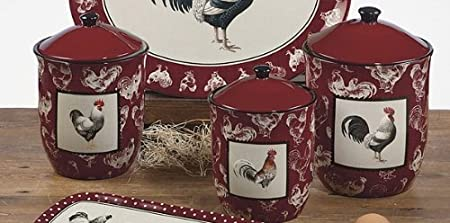 Rooster Canister Sets Kitchen Country Rooster Canister Set 3