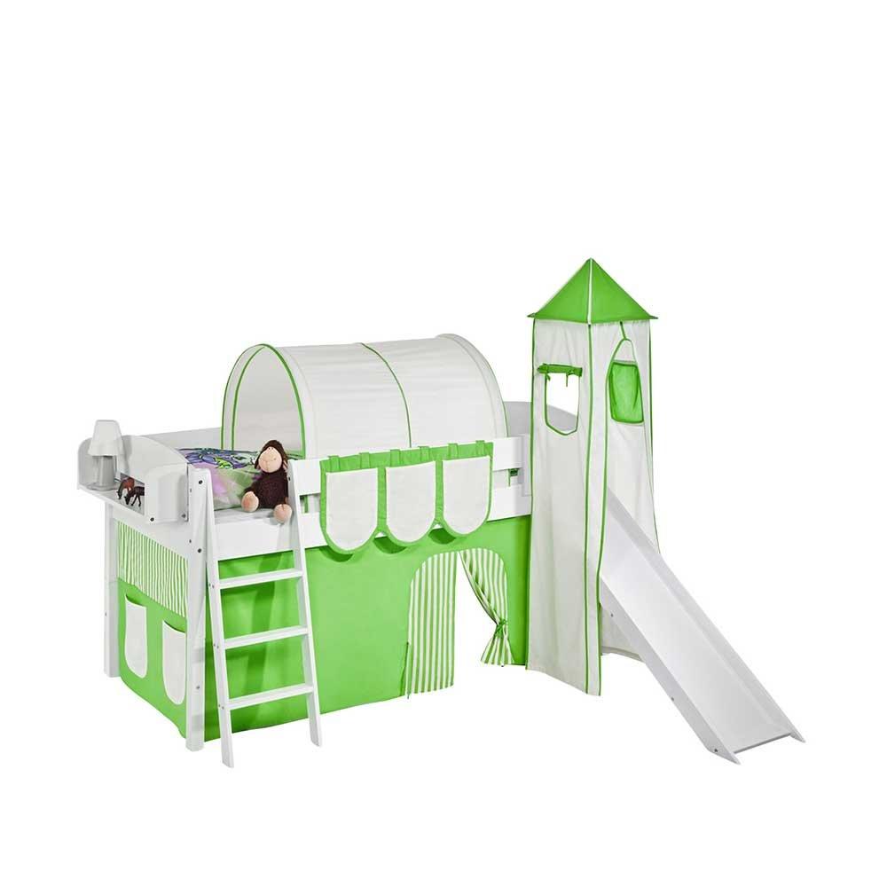 Halbhohes Kinderbett in Weiß Grün Rutsche Pharao24