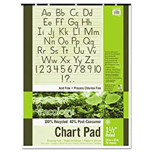 "Pacon 945710 S.a.v.e recycled chart pad, 1-1/2"" ruling, 5-hole punch, 24 x 32, 70 sheets/pad"