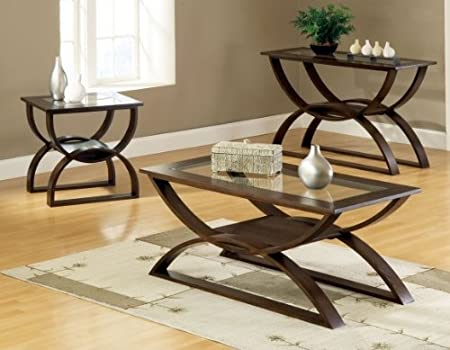 Steve Silver Dylan Rectangle Wood Coffee Table with Glass Top