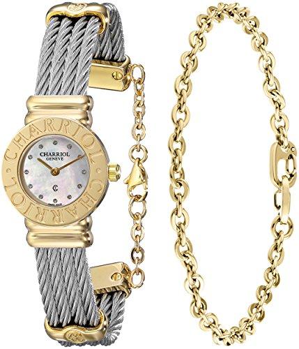 Charriol St-Tropez 028C.540.326 24mm Silver Steel Bracelet & Case Anti-Reflective Sapphire Women's Watch