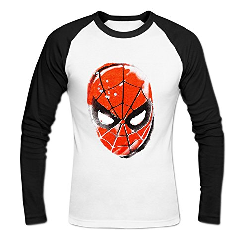 Men's Spiderman Stencil Head Baseball Cotton T Shirt M White