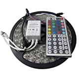 XKTTSUEERCRR 16.4FT SMD 5050 Water-resistant 300LEDs RGB Flexible LED Strip Light Lamp Kit + 44Key IR Remote Controller