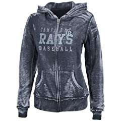 MLB Tampa Bay Rays Washed Athletic Navy Heather Long Sleeve Full Zip Hood Bunout... by Majestic