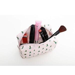 Axgo Cosmetic Toiletry Bag Pouch Portable Zipper Storage Makeup Brushes Handbag, Cactus