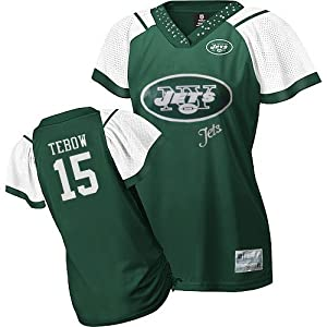 Women NFL Gear - Tim Tebow #15 New York Jets 2012 NFL Jersey Women's Field Flirt Fashion EQT Green Football Jerseys (Logos, Name, Number are sewn)