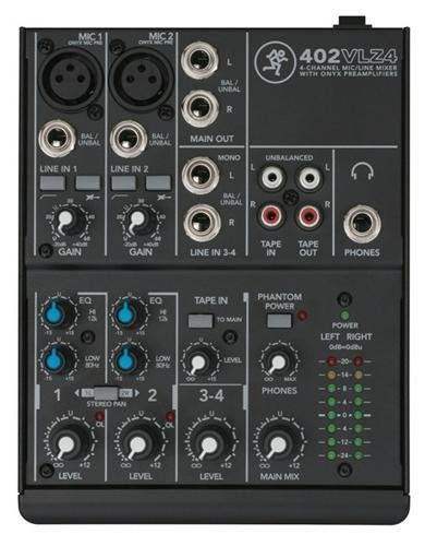 Mackie 402VLZ4, 4-channel Ultra Compact Mixer with High Quality Onyx Preamps