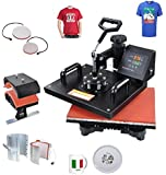 Iglobalbuy 5 in1 T-shirt Heat Press Machine Transfer Sublimation Hat Mug Plate Cap