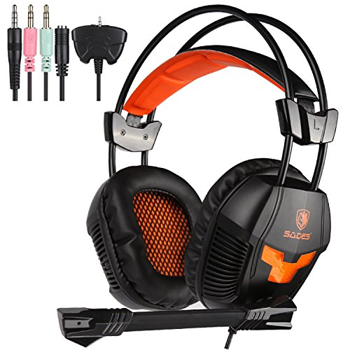 [2016 New Update]SADES Stereo Gaming Headset, SA921 Lightweight Over Ear Computer Headphones 3.5mm Jack with Mic for Laptop PC/MAC/PS4/XBOX ONE/Phones With Splitter Adapter(Black Orange)