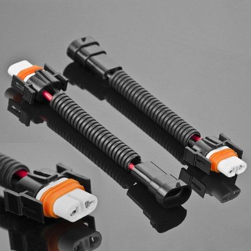 2X H11 H8 Plug And Play Heavy Duty Ceramic Wiring Harness Extension Socket Connector Kit For Head Light Headlight Or Fog Lighting Foglamp Bulbs
