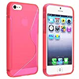 eForCity® TPU Rubber Skin Case Cover Compatible with Apple® iPhone® 5 / 5S, Clear Hot Pink S Shape Reviews