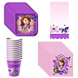 Disney Junior Sofia the First Party Supplies Pack Including Plates, Cups, Napkins and Tablecover - 8 Guests