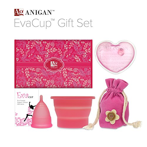 Anigan EvaCup Menstrual Cup Gift Set, Includes: EvaCup, Sterilizing Cup and more, Rose (Puberty Starter Kit compare prices)