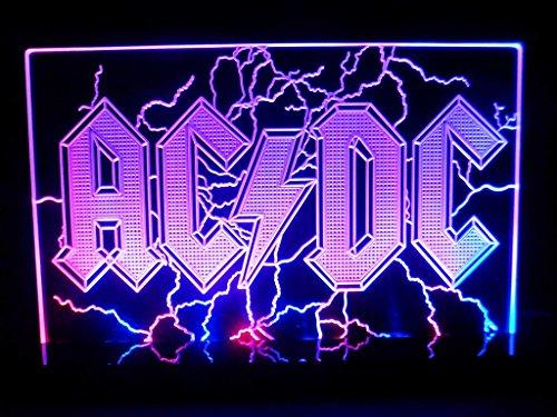 Ac/Dc Back In Black Rock Heavy Metal Led Desk Lamp Night Light Man Cave Signs