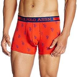 US Polo Men's Cotton Trunks (8907378032522_I112_Small_Orange Bar)