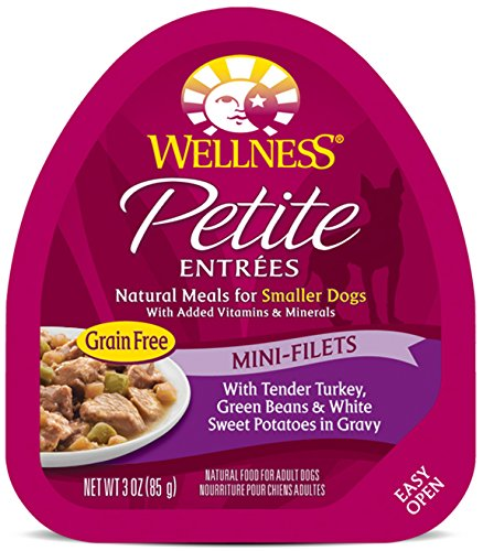 Wellness Petite Entrees Mini Fillets Grain Free Tender Turkey Natural Wet Dog Food, 3-Ounce Cup (Pack of 24)