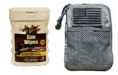Ultimate Arms Gear Wipe Cleaning Field Combo: ACU Army Digital Camouflage Molle Utility Wallet Carry Holder Case + USA Flag Velcro Patch + Pro Armorer's Gun Wipes Cloth Patches Cleaner Lubricanting Oil Protector Travel Convinient Pop-Up Portable Dispenser Range Cleans Dirt, Displaces Moisture Prevents Rust & Corrosion for Shotguns Pistols Firearms Rifles Auto Weapons (50-Sheets)