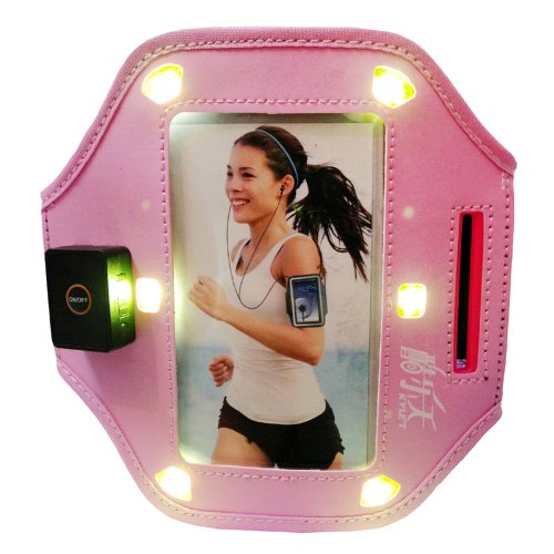Pink Running Sports Gym Led Armband Case Skin Cover For Samsung Galaxy S4 S 4 Siv / New Samsung Galaxy S4 2013 Model (At&T, T-Mobile, Sprint, Verizon) I9500 Armband