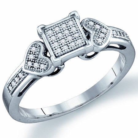 Diamond Promise Ring Heart Micro Pave Fashion Sterling Silver (0.10ct), size 9