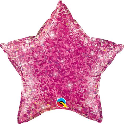 "Magenta Holographic Star Shaped 20"" Mylar Foil Balloon"