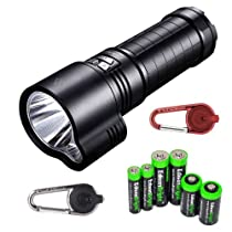FENIX TK51 1800 Lumen Dual Beam CREE XM-L2 U2 LED Flashlight with Two Smith & Wesson LED CaraBeamer Clip Lights and EdisonBright battery sampler pack