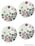 Set 4 Retro Flowers Melamine 7
