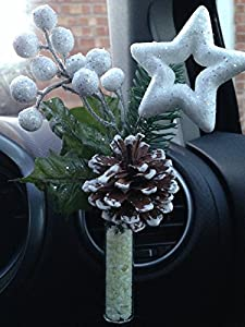 CHRISTMAS Yankee Candle Scented Car Vase and Spray with Vase Stones - White Star Spray